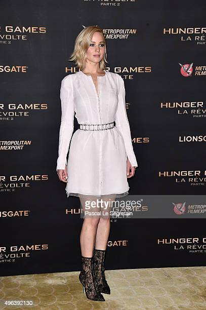 Actress Jennifer Lawrence attends the The Hunger Games Mockingjay Part 2 Photocall at Plazza Athenee on November 9 2015 in Paris France
