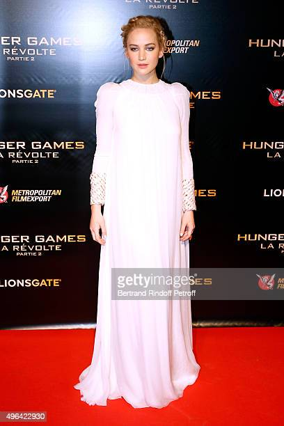 Actress Jennifer Lawrence attends the 'The Hunger Games Mockingjay Part 2' Paris Premiere at Le Grand Rex on November 9 2015 in Paris France
