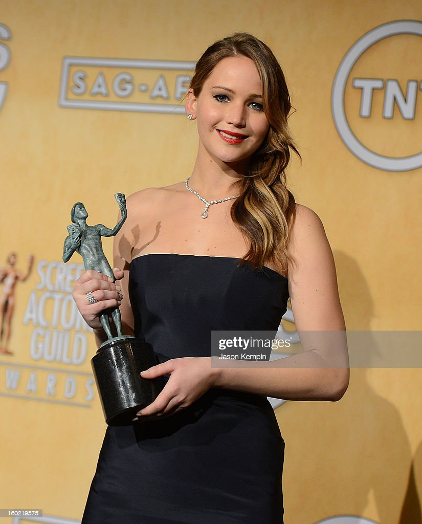 Actress Jennifer Lawrence attends the19th Annual Screen Actors Guild Awards Press Room at The Shrine Auditorium on January 27, 2013 in Los Angeles, California.