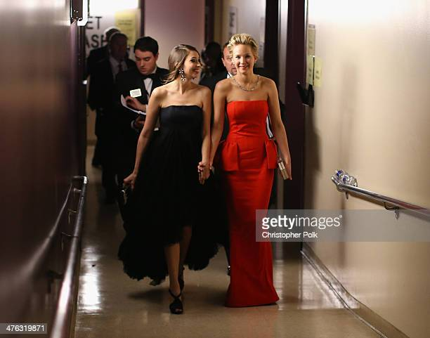 Actress Jennifer Lawrence backstage during the Oscars held at Dolby Theatre on March 2 2014 in Hollywood California