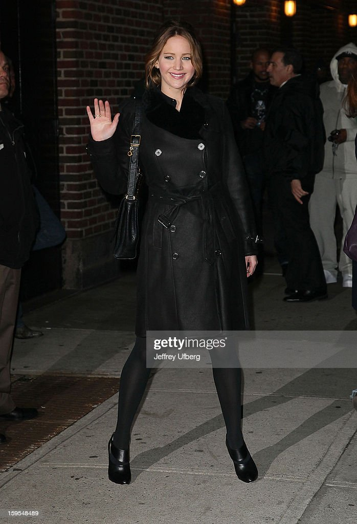 Actress <a gi-track='captionPersonalityLinkClicked' href=/galleries/search?phrase=Jennifer+Lawrence&family=editorial&specificpeople=1596040 ng-click='$event.stopPropagation()'>Jennifer Lawrence</a> departs 'Late Show with David Letterman' at Ed Sullivan Theater on January 15, 2013 in New York City.