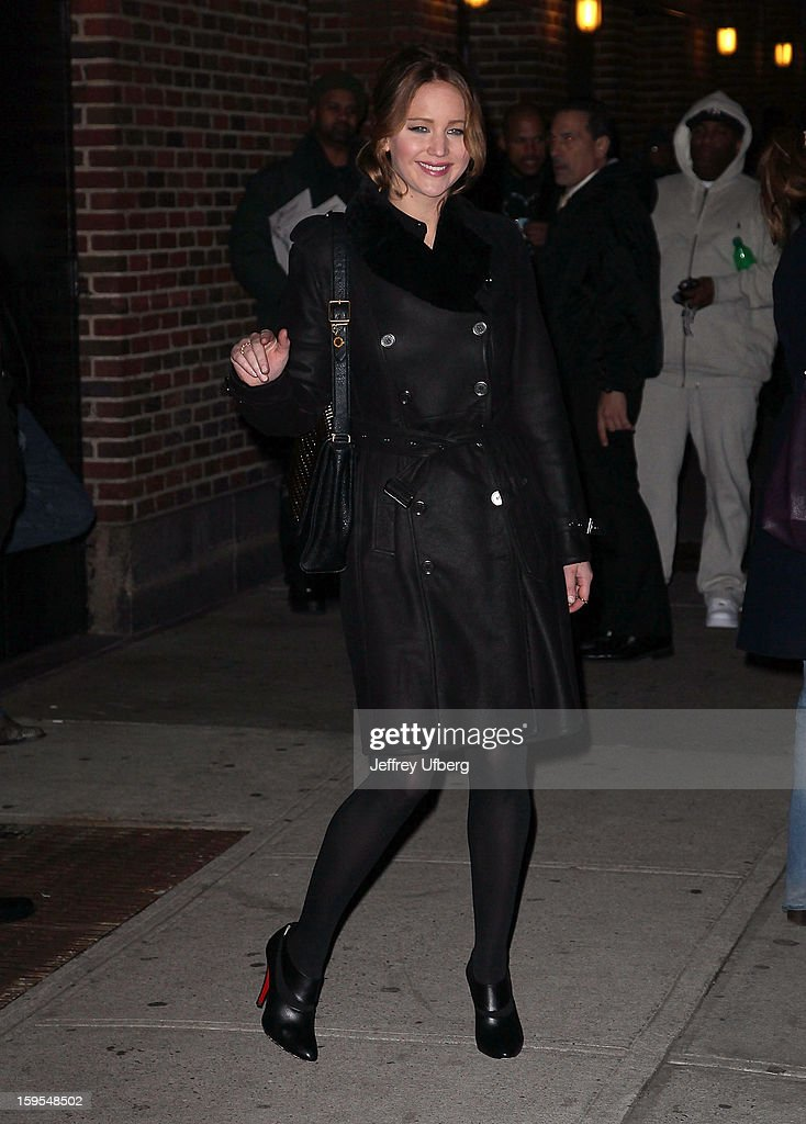 Actress Jennifer Lawrence departs 'Late Show with David Letterman' at Ed Sullivan Theater on January 15, 2013 in New York City.