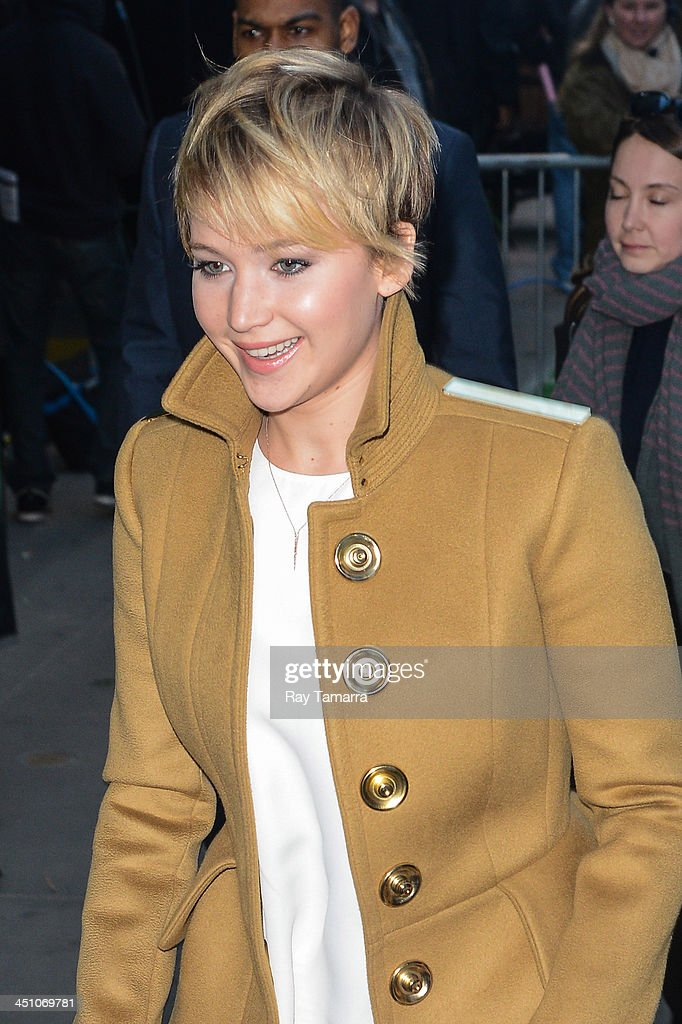 Actress <a gi-track='captionPersonalityLinkClicked' href=/galleries/search?phrase=Jennifer+Lawrence&family=editorial&specificpeople=1596040 ng-click='$event.stopPropagation()'>Jennifer Lawrence</a> enters the 'Good Morning America' taping at the ABC Times Square Studios on November 21, 2013 in New York City.