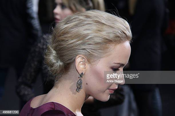 Actress Jennifer Lawrence hair detail attends the world premiere of the film 'The Hunger Games Mockingjay Part 2' at CineStar on November 4 2015 in...