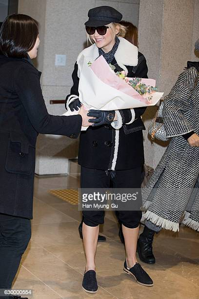 Actress Jennifer Lawrence is seen upon arrival at Gimpo International Airport on December 16 2016 in Seoul South Korea