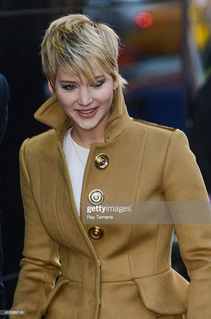 Actress <a gi-track='captionPersonalityLinkClicked' href=/galleries/search?phrase=Jennifer+Lawrence&family=editorial&specificpeople=1596040 ng-click='$event.stopPropagation()'>Jennifer Lawrence</a> leaves the 'Good Morning America' taping at the ABC Times Square Studios on November 21, 2013 in New York City.