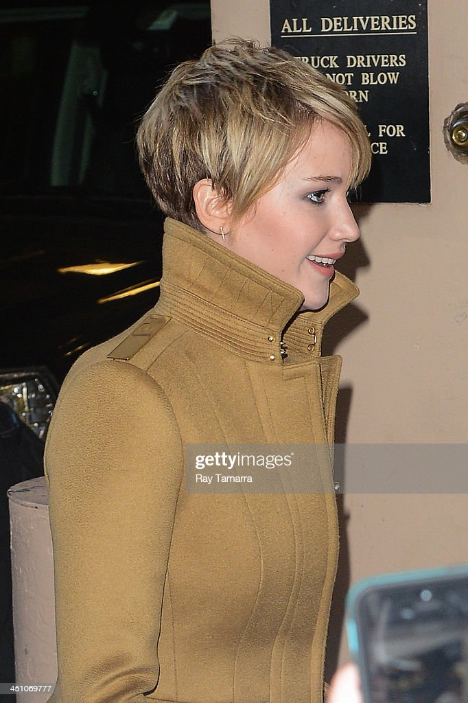 Actress <a gi-track='captionPersonalityLinkClicked' href=/galleries/search?phrase=Jennifer+Lawrence&family=editorial&specificpeople=1596040 ng-click='$event.stopPropagation()'>Jennifer Lawrence</a> leaves the 'Live With Kelly And Michael' taping at the ABC Lincoln Center Studios on November 21, 2013 in New York City.