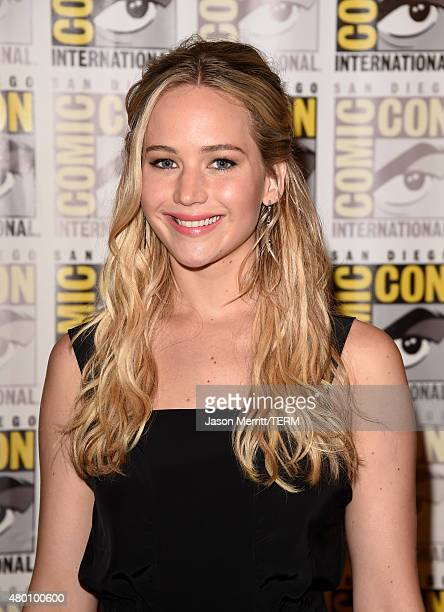 Actress Jennifer Lawrence of 'The Hunger Games Mockingjay Part 2' attends the Lionsgate press room during ComicCon International 2015 at the Hilton...