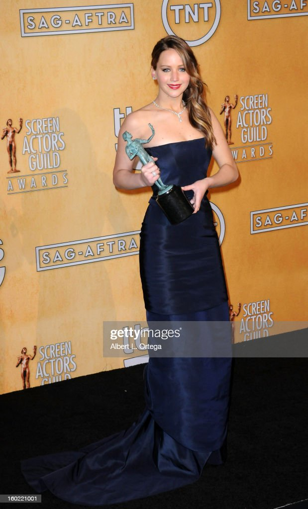 Actress Jennifer Lawrence poses at the 19th Annual Screen Actors Guild Awards - Press Room held at The Shrine Auditorium on January 27, 2013 in Los Angeles, California.
