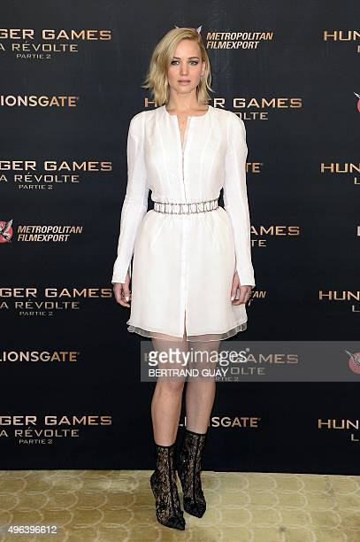 US actress Jennifer Lawrence poses during 'The Hunger Games' photocall in Paris on November 9 2015 The second part of 'The Hunger Games' movie will...