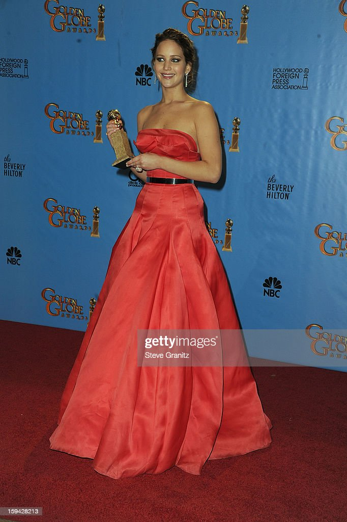 Actress Jennifer Lawrence poses in the press room at the 70th Annual Golden Globe Awards held at The Beverly Hilton Hotel on January 13, 2013 in Beverly Hills, California.