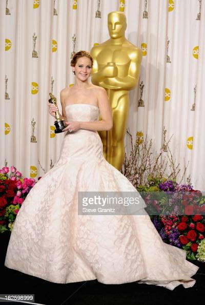Actress Jennifer Lawrence poses in the press room during the Oscars at the Loews Hollywood Hotel on February 24 2013 in Hollywood California