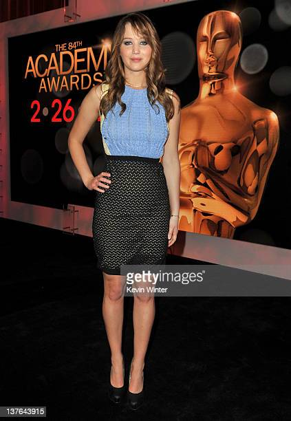 Actress Jennifer Lawrence poses onstage during the 84th Academy Awards announcement held at the Academy of Motion Picture Arts and Sciences Samuel...