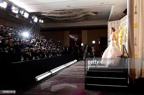 Actress Jennifer Lawrence poses with the Best Actress award for 'Silver Linings Playbook' in the press room during the Oscars held at Loews Hollywood...