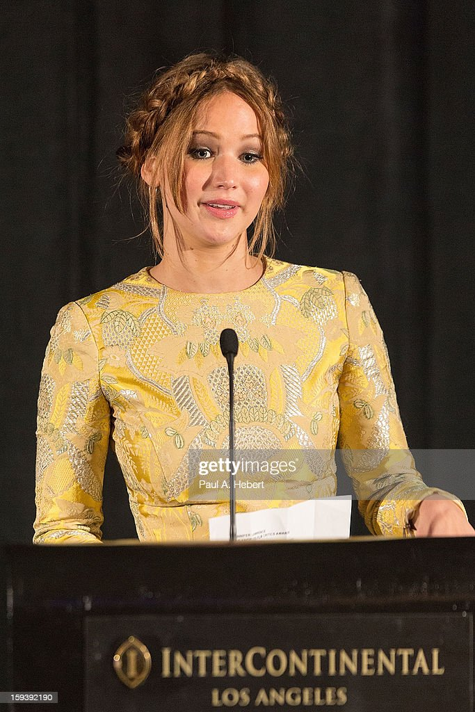 Actress <a gi-track='captionPersonalityLinkClicked' href=/galleries/search?phrase=Jennifer+Lawrence&family=editorial&specificpeople=1596040 ng-click='$event.stopPropagation()'>Jennifer Lawrence</a> receives the award for Best Actress on stage at the 38th Annual Los Angeles Film Critics Association Awards held at the InterContinental Hotel on January 12, 2013 in Century City, California.