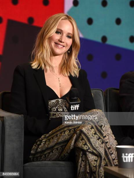 Actress Jennifer Lawrence speaks onstage at the 'mother' press conference during the 2017 Toronto International Film Festival at TIFF Bell Lightbox...