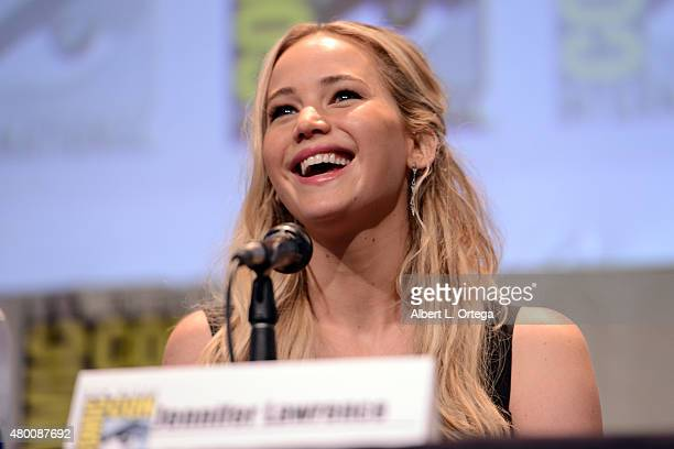 Actress Jennifer Lawrence speaks onstage at the 'The Hunger Games Mockingjay Part 2' panel during ComicCon International 2015 at the San Diego...