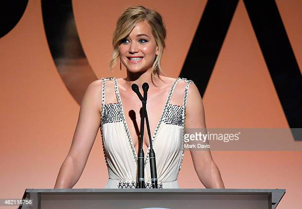 Actress Jennifer Lawrence speaks onstage during the 26th Annual Producers Guild Of America Awards at the Hyatt Regency Century Plaza on January 24...