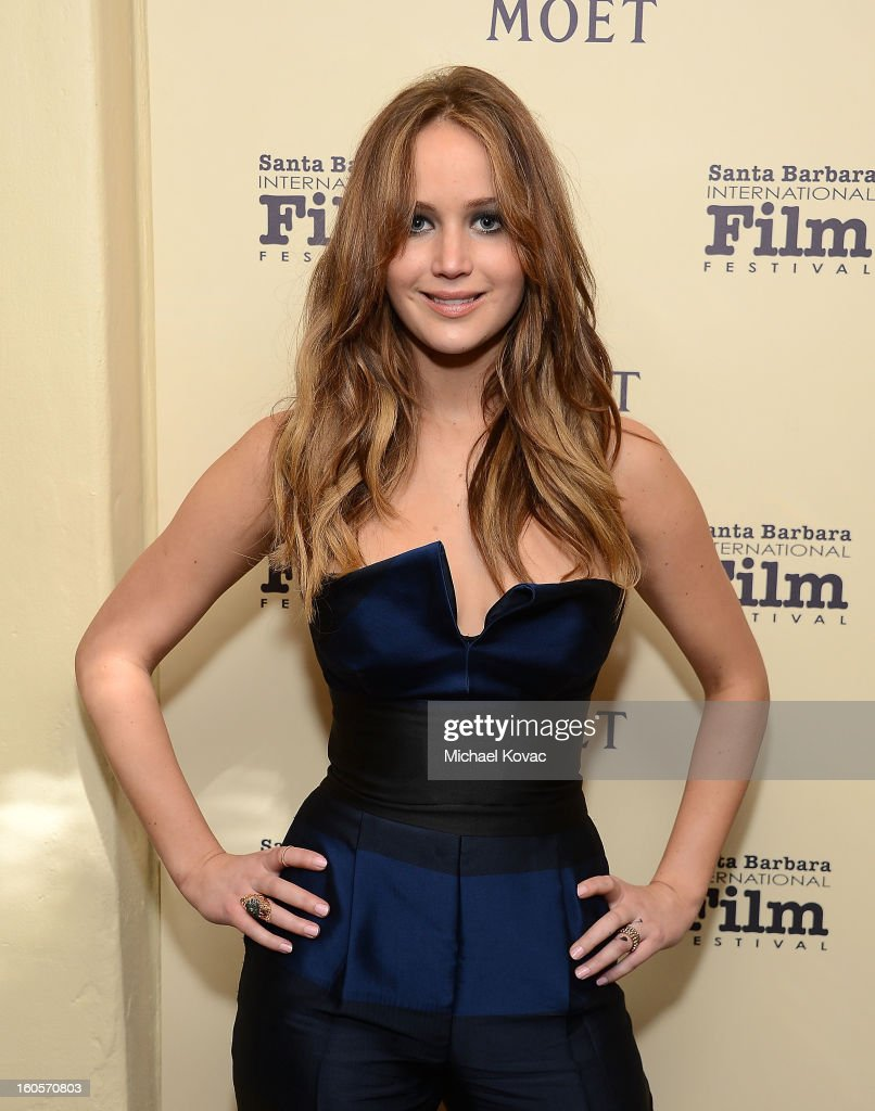 Actress <a gi-track='captionPersonalityLinkClicked' href=/galleries/search?phrase=Jennifer+Lawrence&family=editorial&specificpeople=1596040 ng-click='$event.stopPropagation()'>Jennifer Lawrence</a> visits The Moet & Chandon Lounge at The Santa Barbara International Film Festival on February 2, 2013 in Santa Barbara, California.