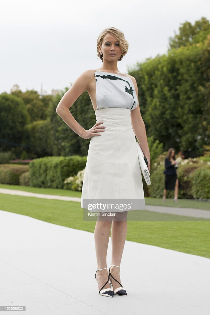 Actress <a gi-track='captionPersonalityLinkClicked' href=/galleries/search?phrase=Jennifer+Lawrence&family=editorial&specificpeople=1596040 ng-click='$event.stopPropagation()'>Jennifer Lawrence</a> wearing Dior day 2 of Paris Haute Couture Fashion Week Autumn/Winter 2014, on July 7, 2014 in Paris, France.