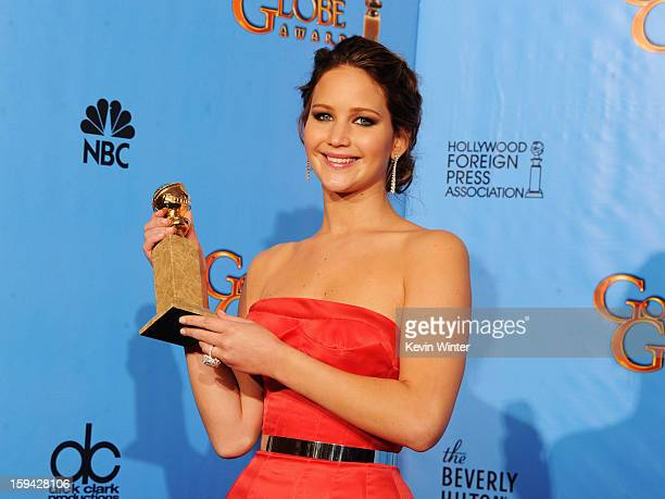 Actress Jennifer Lawrence winner of Best Performance by an Actress in a Motion Picture for 'The Silver Linings Playbook' poses in the press room...
