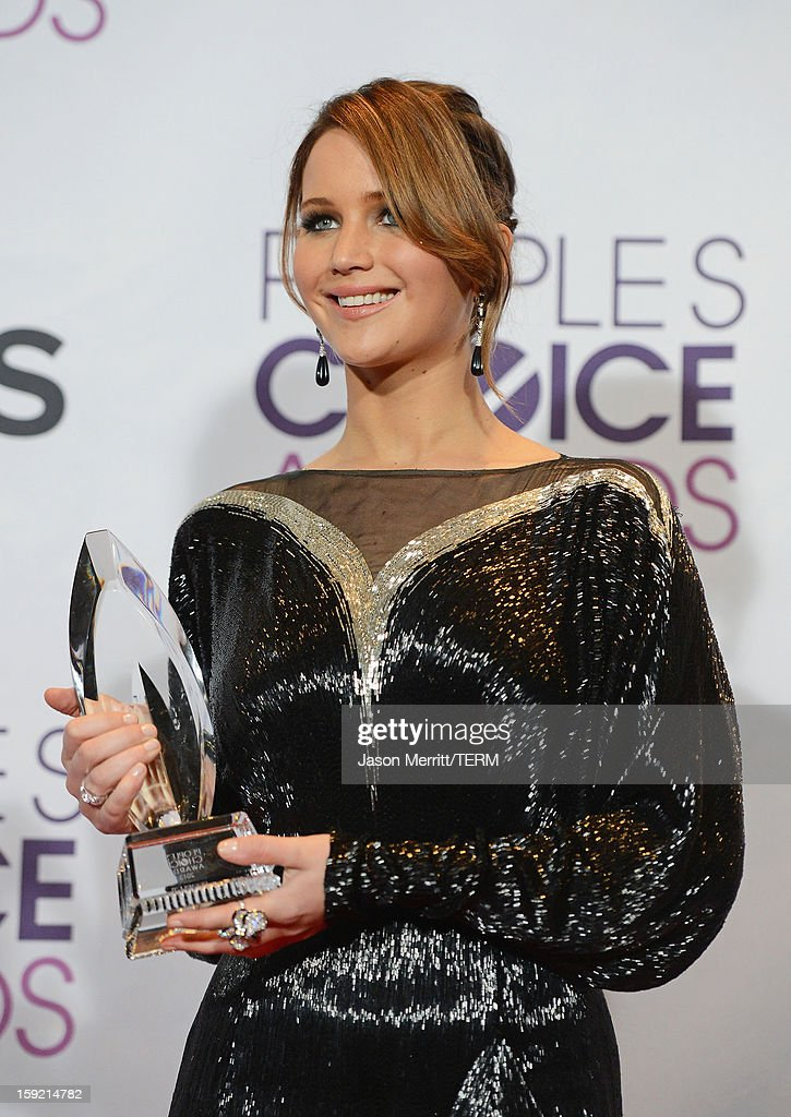 Actress Jennifer Lawrence, winner of Favorite Movie Actress, poses in the press room at the 39th Annual People's Choice Awards at Nokia Theatre L.A. Live on January 9, 2013 in Los Angeles, California.