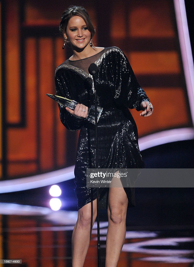 Actress Jennifer Lawrence, winner of Favorite Movie Actress, speaks onstage at the 39th Annual People's Choice Awards at Nokia Theatre L.A. Live on January 9, 2013 in Los Angeles, California.