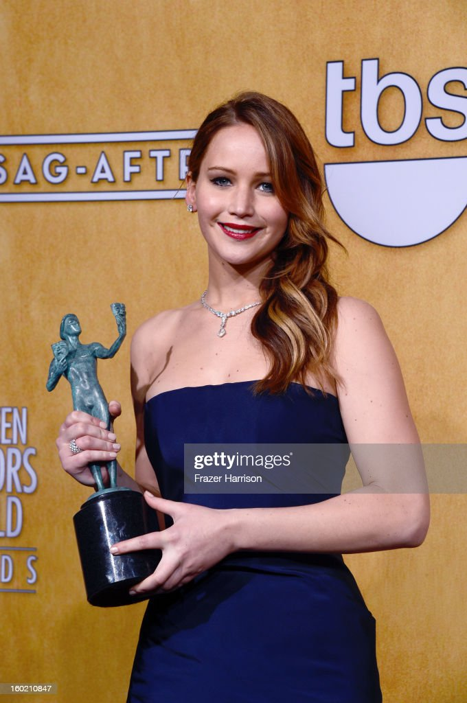 Actress Jennifer Lawrence, winner of Outstanding Performance by a Female Actor in a Leading Role for 'Silver Linings Playbook,' poses in the press room during the 19th Annual Screen Actors Guild Awards held at The Shrine Auditorium on January 27, 2013 in Los Angeles, California.