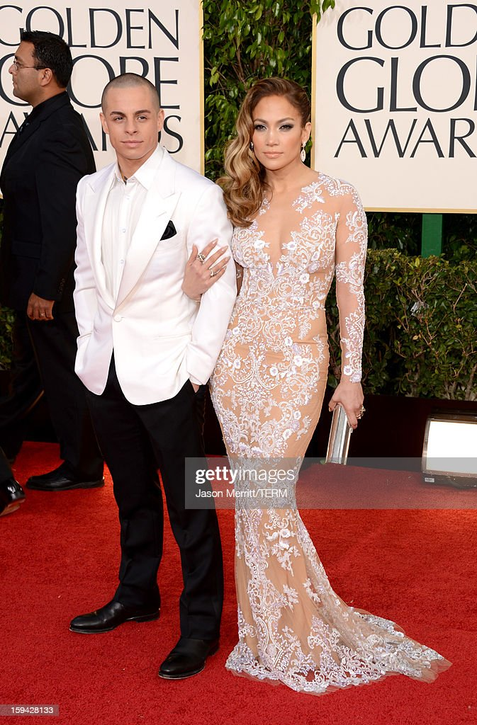 Actress Jennifer Lopez and Casper Smart arrive at the 70th Annual Golden Globe Awards held at The Beverly Hilton Hotel on January 13 2013 in Beverly...
