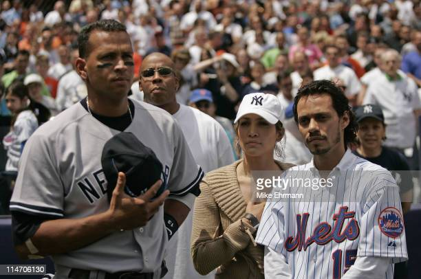 Actress Jennifer Lopez and husband Marc Anthony with New York Yankee Alex Rodriguez before a subway series game between the New York Mets and the New...