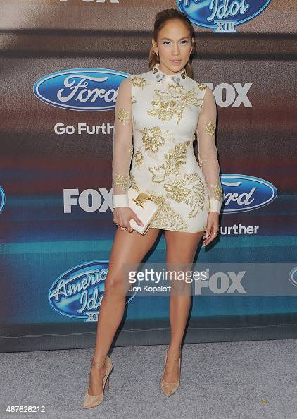 Actress Jennifer Lopez arrives at 'American Idol XIV' Finalist Party at The District Restaurant on March 11 2015 in Los Angeles California
