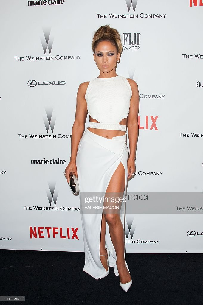 Actress Jennifer Lopez arrives at The Weinstein Company Netflix 2015 Golden Globes After Party in Beverly Hills California January 11 2015 AFP PHOTO...
