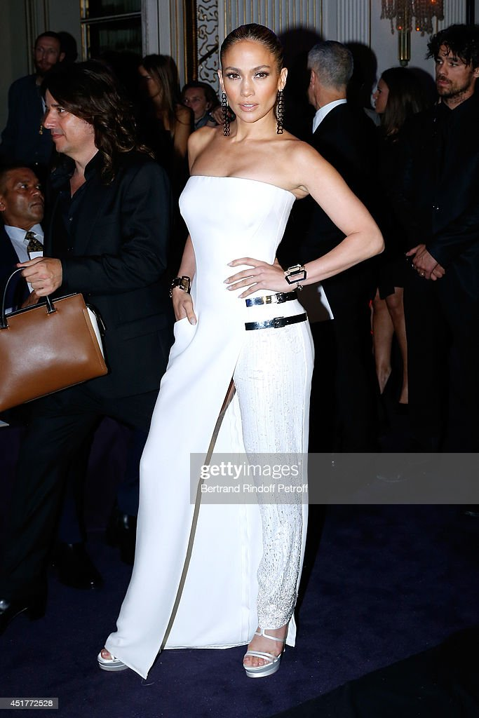 Actress <a gi-track='captionPersonalityLinkClicked' href=/galleries/search?phrase=Jennifer+Lopez&family=editorial&specificpeople=201784 ng-click='$event.stopPropagation()'>Jennifer Lopez</a> attends the Versace show as part of Paris Fashion Week - Haute Couture Fall/Winter 2014-2015 on July 6, 2014 in Paris, France.