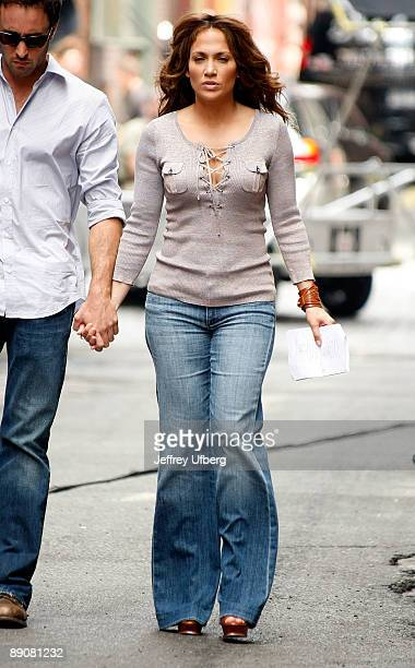 Actress Jennifer Lopez filming on location for 'The Back Up Plan' on the Streets of Manhattan on July 17 2009 in New York City