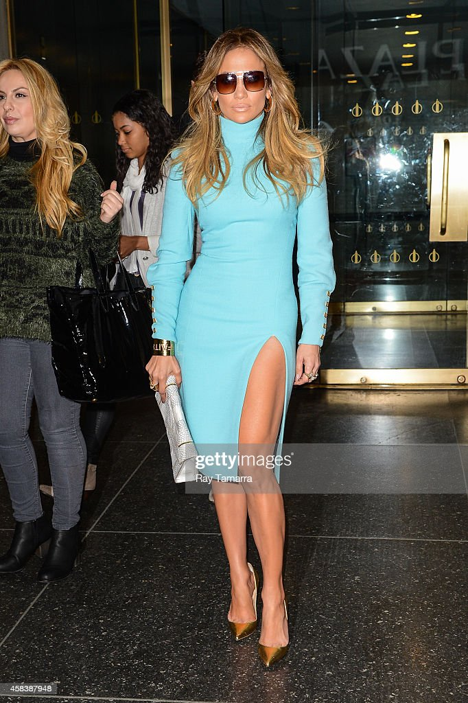 Actress Jennifer Lopez leaves the 'Today Show' taping at the NBC Rockefeller Center Studios on November 4 2014 in New York City