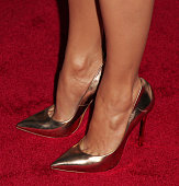 Actress Jennifer Lopez shoe detail attends the Jennifer Lopez and Marie Osmond launch of the 'Put Your Money Where The Miracles Are' campaign at...