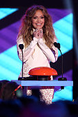 Actress Jennifer Lopez speaks onstage during the Nickelodeon's 28th Annual Kids' Choice Awards held at The Forum on March 28 2015 in Inglewood...