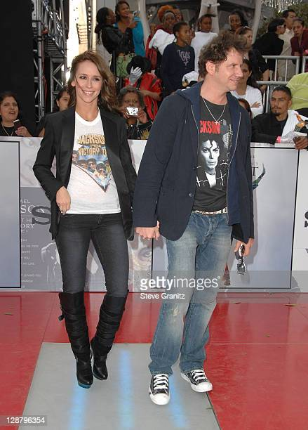 Actress Jennifer Love Hewitt and Comedian Jamie Kennedy arrive at the Los Angeles Premiere of 'This Is It' held at Nokia Theatre LA Live on October...