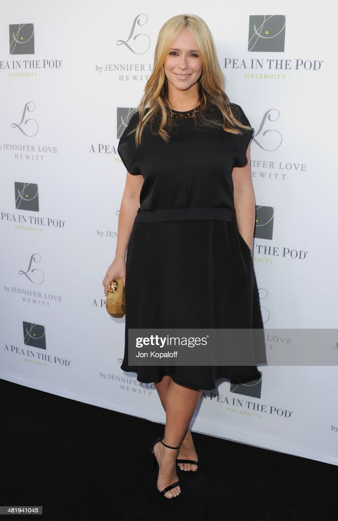 Actress <a gi-track='captionPersonalityLinkClicked' href=/galleries/search?phrase=Jennifer+Love+Hewitt&family=editorial&specificpeople=202883 ng-click='$event.stopPropagation()'>Jennifer Love Hewitt</a> arrives at A Pea In The Pod And <a gi-track='captionPersonalityLinkClicked' href=/galleries/search?phrase=Jennifer+Love+Hewitt&family=editorial&specificpeople=202883 ng-click='$event.stopPropagation()'>Jennifer Love Hewitt</a> Celebrate The Launch Of 'L By <a gi-track='captionPersonalityLinkClicked' href=/galleries/search?phrase=Jennifer+Love+Hewitt&family=editorial&specificpeople=202883 ng-click='$event.stopPropagation()'>Jennifer Love Hewitt</a>' at A Pea In The Pod on April 1, 2014 in Beverly Hills, California.