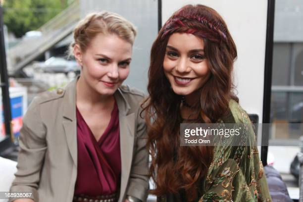 Actress Jennifer Morrison and Actress Vanessa Hudgens get their hair done at the HairUWear Extension Bar at Nine Zero One Salon on May 16 2013 in...