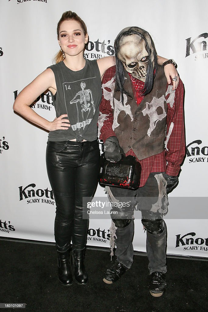 Actress <a gi-track='captionPersonalityLinkClicked' href=/galleries/search?phrase=Jennifer+Stone&family=editorial&specificpeople=2395008 ng-click='$event.stopPropagation()'>Jennifer Stone</a> attends the Knott's Scary Farm 'Haunt' VIP Opening Night Party at Knott's Berry Farm on October 3, 2013 in Buena Park, California.