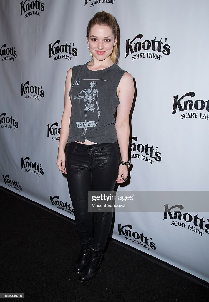 Actress Jennifer Stone attends the VIP opening of Knott's Scary Farm HAUNT at Knott's Berry Farm on October 3, 2013 in Buena Park, California.