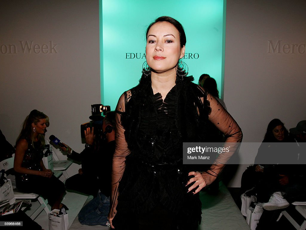 mercedes benz fashion week actress jennifer tilly poses in the front row at the eduardo lucero spring 2006 show during