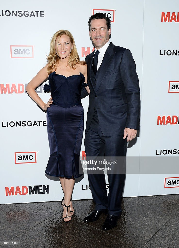 Actress <a gi-track='captionPersonalityLinkClicked' href=/galleries/search?phrase=Jennifer+Westfeldt&family=editorial&specificpeople=228494 ng-click='$event.stopPropagation()'>Jennifer Westfeldt</a> (L) and actor <a gi-track='captionPersonalityLinkClicked' href=/galleries/search?phrase=Jon+Hamm&family=editorial&specificpeople=3027367 ng-click='$event.stopPropagation()'>Jon Hamm</a> arrive at AMC's 'Mad Men' Season 6 Premiere at the DGA Theater on March 20, 2013 in Los Angeles, California.