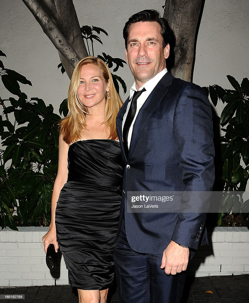 Actress <a gi-track='captionPersonalityLinkClicked' href=/galleries/search?phrase=Jennifer+Westfeldt&family=editorial&specificpeople=228494 ng-click='$event.stopPropagation()'>Jennifer Westfeldt</a> and actor <a gi-track='captionPersonalityLinkClicked' href=/galleries/search?phrase=Jon+Hamm&family=editorial&specificpeople=3027367 ng-click='$event.stopPropagation()'>Jon Hamm</a> attend the Entertainment Weekly Screen Actors Guild Awards pre-party at Chateau Marmont on January 26, 2013 in Los Angeles, California.