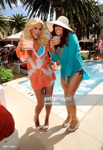 Actress Jenny McCarthy and her sister JoJo McCarthy celebrate the renewal of 'The Jenny McCarthy Show' at the Encore Beach Club at Encore Las Vegas...