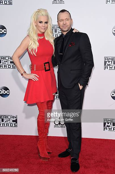 Actress Jenny McCarthy and singer Donnie Wahlberg arrive at the 2015 American Music Awards at Microsoft Theater on November 22 2015 in Los Angeles...