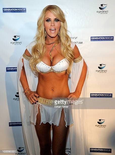 Actress Jenny McCarthy arrives at the fourth annual Midsummer Night's Dream party at the Palms Casino Resort August 14 2010 in Las Vegas Nevada