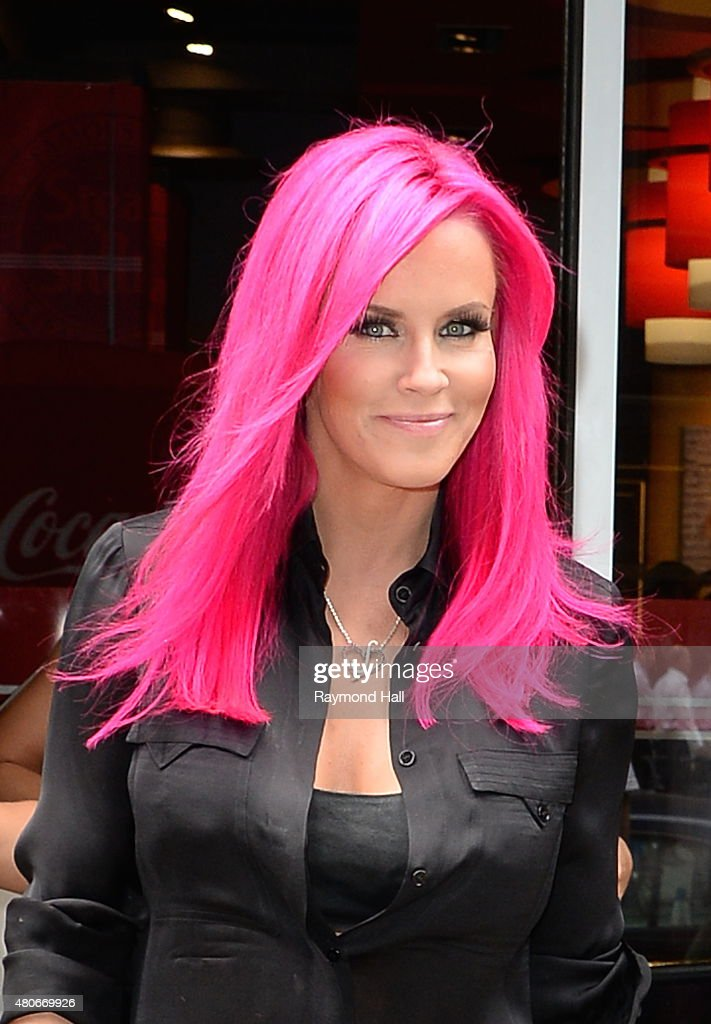 Actress <a gi-track='captionPersonalityLinkClicked' href=/galleries/search?phrase=Jenny+McCarthy&family=editorial&specificpeople=202900 ng-click='$event.stopPropagation()'>Jenny McCarthy</a> is seen coming out of 'Steak Burger in Midtown'on July 14, 2015 in New York City.