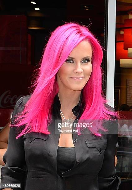 Actress Jenny McCarthy is seen coming out of 'Steak Burger in Midtown'on July 14 2015 in New York City